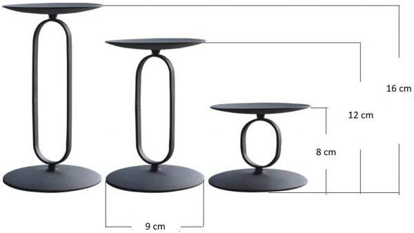 """Metalinė žvakidė """"Oval"""" išmatavimai"""